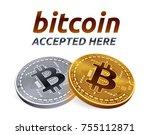 bitcoin accepted sign emblem.... | Shutterstock .eps vector #755112871