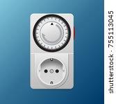 power socket timer vector... | Shutterstock .eps vector #755113045