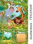 nature scenes with wild animals ...   Shutterstock .eps vector #755119249
