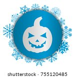 pumpkin christmas icon | Shutterstock .eps vector #755120485