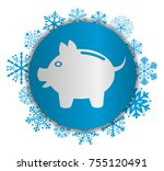piggy bank christmas icon | Shutterstock .eps vector #755120491