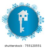 key to house christmas icon | Shutterstock .eps vector #755120551