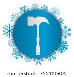 hammer christmas icon | Shutterstock .eps vector #755120605