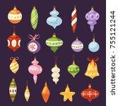 christmas tree toys vector... | Shutterstock .eps vector #755121244