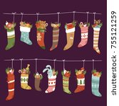 christmas socks vector santa... | Shutterstock .eps vector #755121259