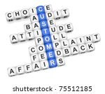 Customer affairs crossword on white background 3d render - stock photo