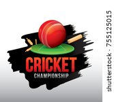 vector of cricket championship... | Shutterstock .eps vector #755125015