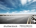 empty asphalt road and snow... | Shutterstock . vector #755129221