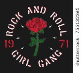 rock and roll girl gang  ... | Shutterstock .eps vector #755132365