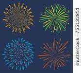 firework set. collection of... | Shutterstock .eps vector #755132851