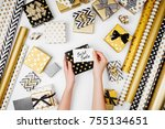 woman writing greeting card for ... | Shutterstock . vector #755134651