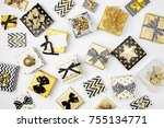 flat lay christmas or party... | Shutterstock . vector #755134771