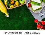 healthy food for picnic....   Shutterstock . vector #755138629