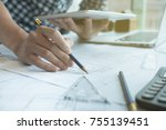 young architect working on real ... | Shutterstock . vector #755139451