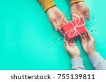 male gives a gift to female... | Shutterstock . vector #755139811