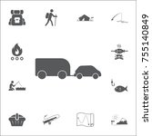 car trailer icon. set of...