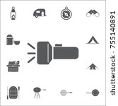 flashlight icon. set of camping ... | Shutterstock .eps vector #755140891