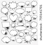 a set of comic speech bubbles... | Shutterstock .eps vector #755141701