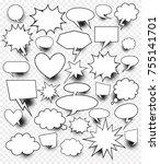 a set of comic speech bubbles... | Shutterstock .eps vector #755141701
