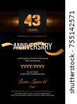 43 years golden anniversary... | Shutterstock .eps vector #755142571