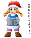 Blonde Girl Singing Christmas...