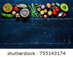 flat lay of healthy food clean... | Shutterstock . vector #755143174