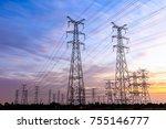 high voltage power tower...   Shutterstock . vector #755146777
