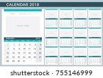 2018 planner   illustration... | Shutterstock .eps vector #755146999