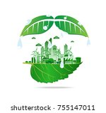 eco friendly. ecology concept... | Shutterstock .eps vector #755147011