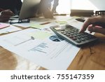 close up businessman and... | Shutterstock . vector #755147359