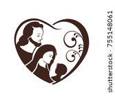 nativity heart birth of christ. ... | Shutterstock .eps vector #755148061