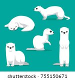 cute winter coat weasel cartoon ...   Shutterstock .eps vector #755150671