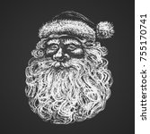 santa face. chalk drawing. eps8 ... | Shutterstock .eps vector #755170741