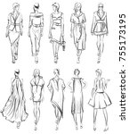 sketch. set of fashion model on ... | Shutterstock . vector #755173195