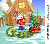 the serpent steals gifts from... | Shutterstock . vector #755173615