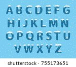 set of alphabet with snow | Shutterstock .eps vector #755173651