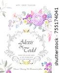 design of wedding invitation  | Shutterstock .eps vector #755174041