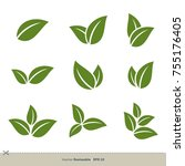 Green Leaves Set Vector Logo...