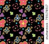 flower pattern seamless pattern ... | Shutterstock .eps vector #755178517