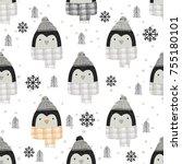 cute penguin  seamless pattern  ... | Shutterstock .eps vector #755180101
