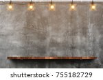 empty brown wood plank board... | Shutterstock . vector #755182729