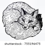 wild sleeping fox engraved line ... | Shutterstock .eps vector #755196475