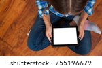girl in jeans sits on the floor ... | Shutterstock . vector #755196679