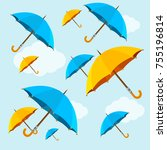umbrellas yellow and blue fall... | Shutterstock .eps vector #755196814