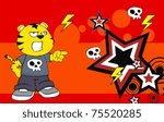 tiger kid cartoon background in ... | Shutterstock .eps vector #75520285