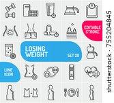 fitness concept. set of sport... | Shutterstock .eps vector #755204845