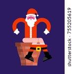 santa chimney shit on toilet .... | Shutterstock .eps vector #755205619