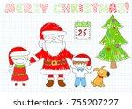 two happy children and santa... | Shutterstock .eps vector #755207227