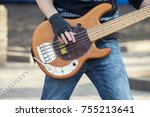 hands of bassist playing a... | Shutterstock . vector #755213641