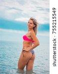 slim body lady outdoor portrait.   Shutterstock . vector #755215549